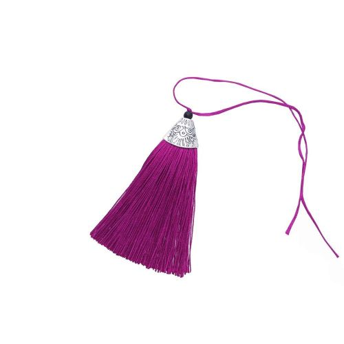 Tassel / viscose thread / silver flat end cap / 80mm / purple / 1pcs