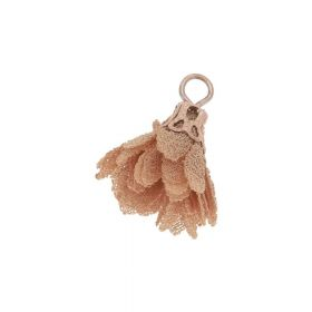 Tulle flower / with openwork tip / 18mm / Gold Plated / light brown / 4 pcs