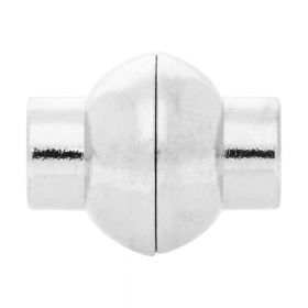 Magnetic clasp / copper / round / 15x12x12mm / silver / 5mm hole / 1pcs