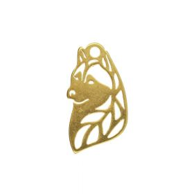 Wolf / charm / surgical steel / 12x7mm / gold / 2pcs