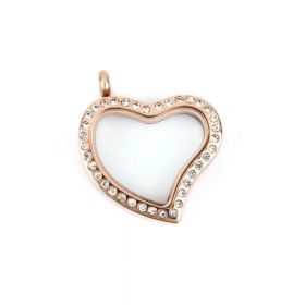 Rose Gold Plated Stainless Steel Inter Floating Heart Locket w/Crystals 29x34mm Pk1