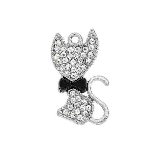 Glamm ™ Cat with black tie / charm pendant / with zircons / 23x14mm / silver plated / 1pcs