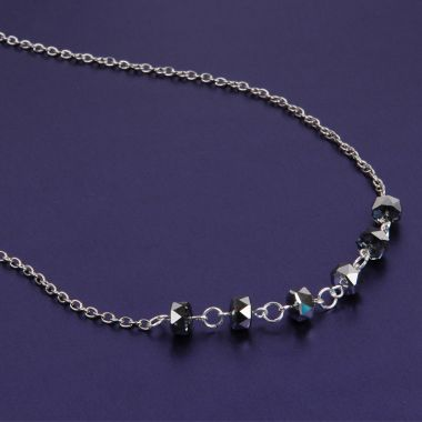 Silver Night Rondelle Necklace