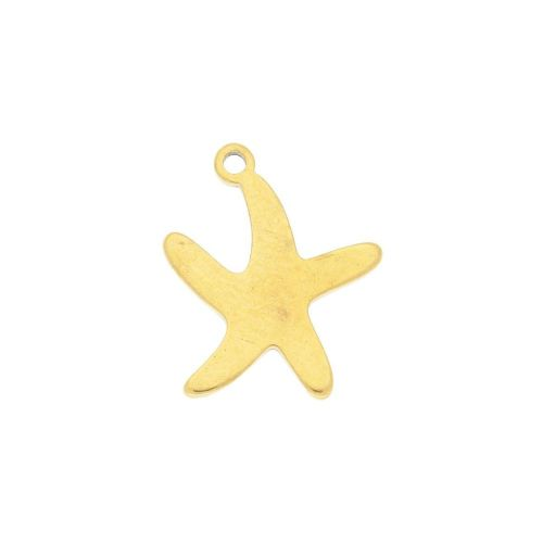 Starfish / charm / surgical steel / 14x11mm / gold / 2pcs