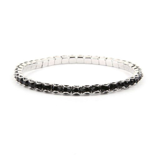 """X"" 37E02 Swarovski Crystal Stretch Bracelet Rhodium Plated with Crystal Jet 18cm Pk1"