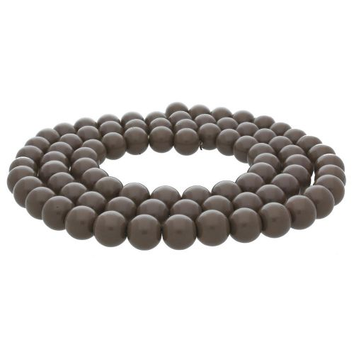 Milly™ / satin round / 10mm / taupe / 80pcs