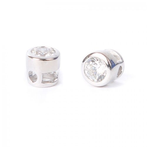 Sterling Silver 925 Small Cubic Zirconia Charm Bead 5mm (Hole2x3mm) Pk1