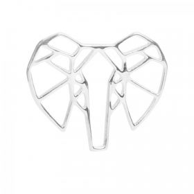 Sterling Silver 925 Origami Elephant Charm 14x17mm Pk1