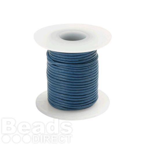 Sky Blue Round Leather Cord 1mm 5Metre Reel