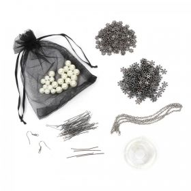 Gunmetal Snowflake and Bead Bundle with Elastic and Findings