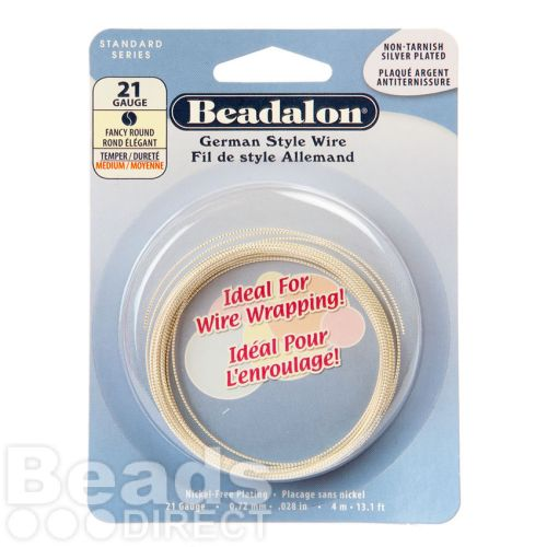 Beadalon Silver Plated German Style Round Fancy Wire 21 gauge 4m Coil