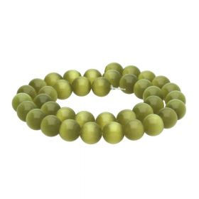 Cat's eye (synthetic) / round / 12mm / olive / 30pcs