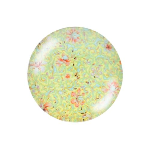 Glass cabochon with graphics K20 PT1348 / green / 20mm / 2pcs