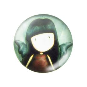 Glass cabochon with graphics 14mm PT1497 / green / 4pcs