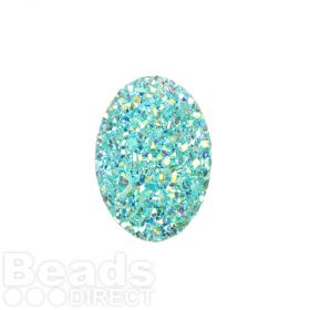 Aqua AB Sparkly Resin Small Oval Flat Back Cabochon 13x18mm Pk10