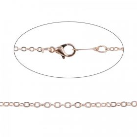 Rose Gold Plated Necklace Trace Chain with Clasp 18""