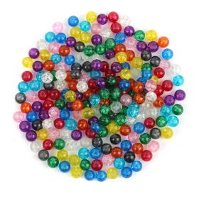 Multi Colour Crackle Glass Round Beads 6mm Pk200