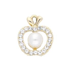 Glamm ™ Apple with pearl / charm pendant / 20 zircons / 16x13x7mm / gold plated / 1pcs
