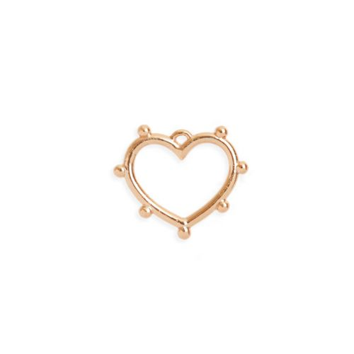 X-Rose Gold Plated Brass Heart Charm with Dot Edge 14x17mm Pk1
