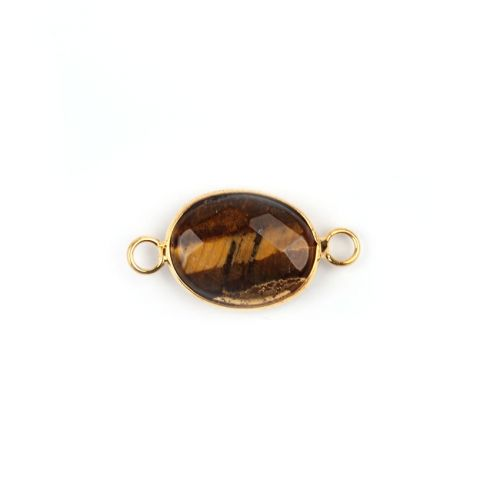 Gold Plated Brass Tiger Eye Oval Connector 13x18mm Pk1