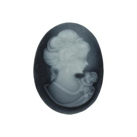 Cameo / cabochon / oval / 22x30mm / black-grey / 4pcs