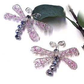 Beads Direct Silver & Pink Dragonfly Necklace and Brooch Kit - Makes x5