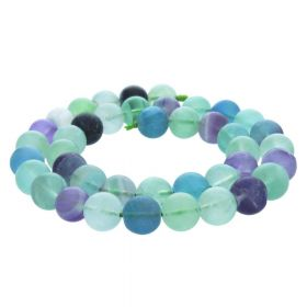Rainbow fluorite / matte finish / round / 8mm / 52pcs