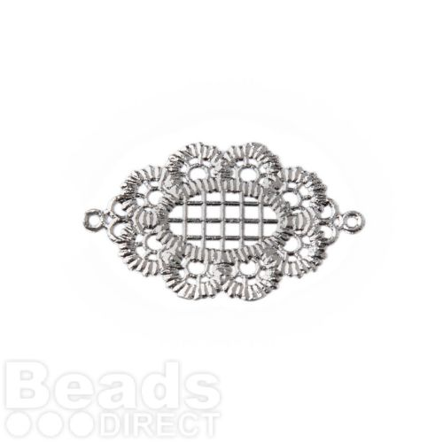Titanium Plated Lace Effect Oval Filigree Connector 18x25mm Pk1