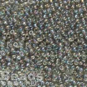 Toho Size 6 Round Seed Beads Trans-Rainbow Black Diamond 10g