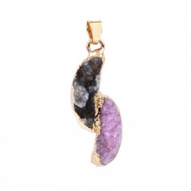 Grey and Pink Gold Plated Druzy Agate Pendant with Bail 16x33mm Pk1