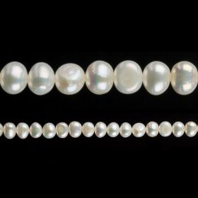 "White Freshwater Pearl Beads Potato 6-7mm 16"" Strand"