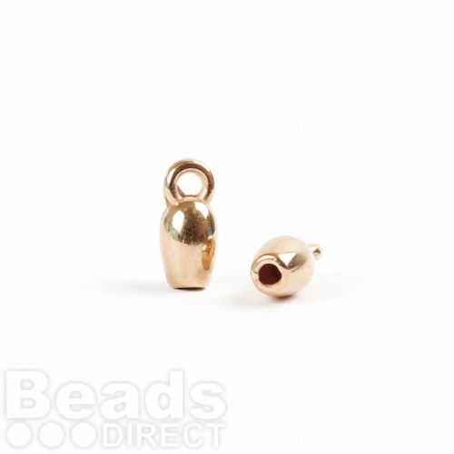 Rose Gold Plat Zamak Cord Ends with Loop 4x10mm 2mm Hole Pk4