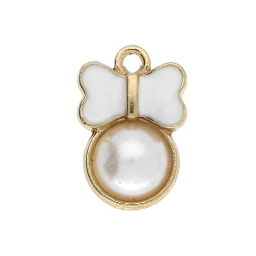 SweetCharm ™ Butterfly / charm pendant / 15x10x4mm / gold plated / white / 2pcs