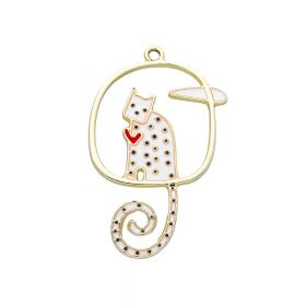 SweetCharm ™ Cat  / charm pendant / 43x27x2mm / gold plated / 1pcs