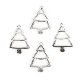 Silver Tone Christmas Tree Charms 26x38mm Pk30