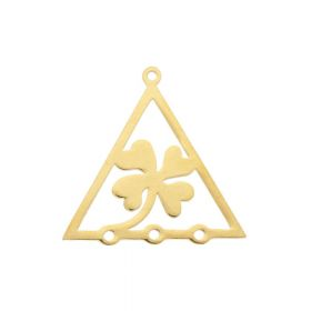 Clover / triangle / connector / surgical steel / 21x21x1mm / gold / 1pcs