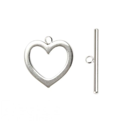 Silver Plated Heart Toggle Clasp Set 18mm 24x22mm Pk2