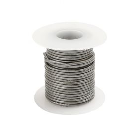 Grey Round Leather Cord 1mm 5Metre Reel