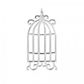 Sterling Silver 925 Birdcage Charm with Loop 11.5x20mm Pk1