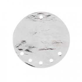 Silver Plated Large Flat Disk Charm with 5 Holes 30mm Pk1