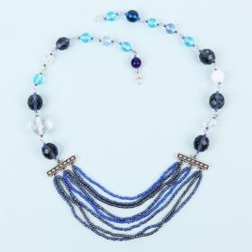 Blue and Silver Connector Necklace Kit - Makes x1