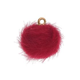 Pom pom / pendant / 15mm / red / 4pcs