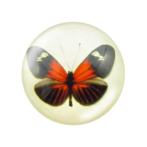 Glass cabochon with graphics 14mm PT1526 / black and red / 4pcs