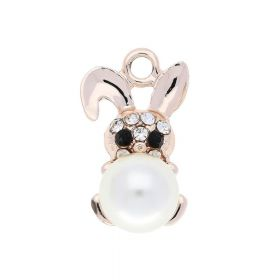 Glamm ™ Rabbit with pearl / charm pendant / 9 zircons / 23x13x12mm / rose gold / 1pcs