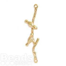 Gold Plated Brass Birds on Branch Connector Charm 8x35mm Pk1