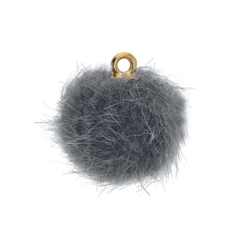 Pom pom / pendant / 15mm / grey / 4pcs