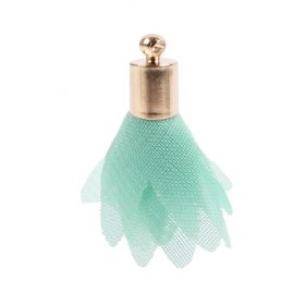Mint Nylon Flower Tassel Charm w/Gold Plated Cup 25mm Pk5