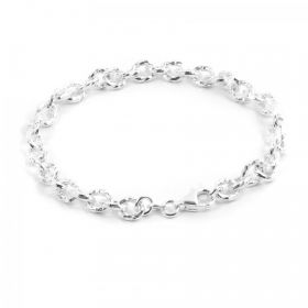 Sterling Silver 925 Oval Cable Engraved Bracelet 5x7mm 8""