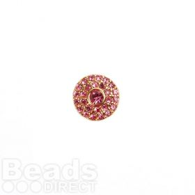 Gold Plated Slider Charm Bead Pink Crystal Design 12mm Pk1