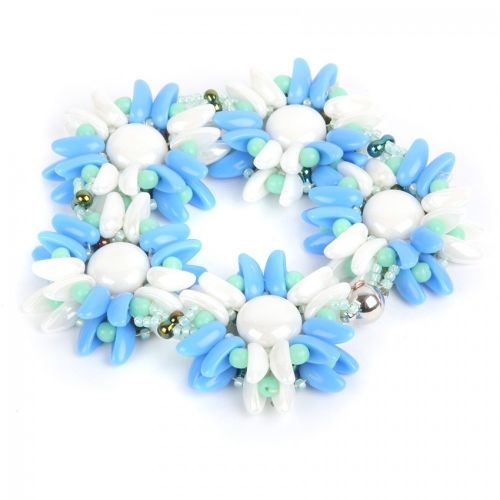 """X"" Blue and White Passion Flower Bracelet Kit - Makes x1"